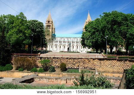 Cityscape with Basilica of St. Peter in Pecs - Hungary.