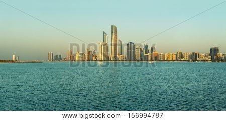 Abu Dhabi Skyline at sunset View on Al Sahil Beach - Corniche Road West - Al Khalidiyah United Arab Emirates