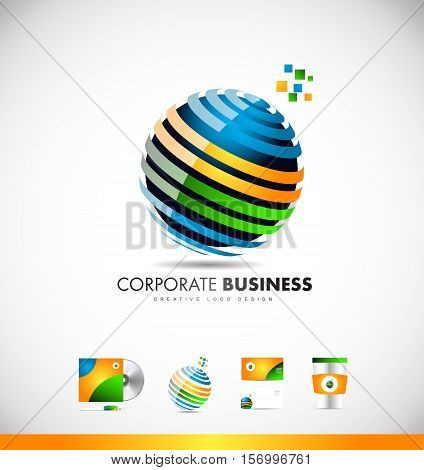 Business sphere 3d orange blue green vector logo icon sign design template creative corporate identity