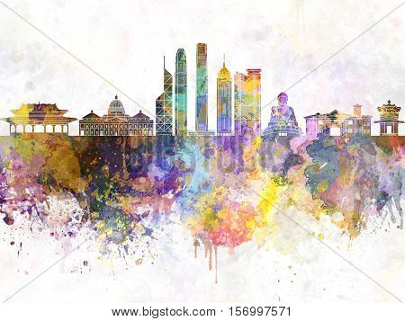 Hong Kong skyline artistic abstract in watercolor background