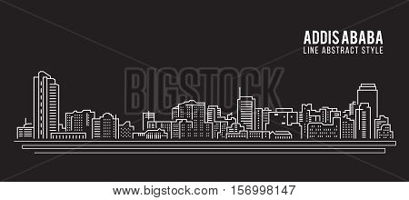 Cityscape Building Line art Vector Illustration design - Addis ababa city