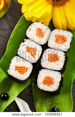 Sake Maki - Sushi Roll with Salmon inside. Seaweed outside. Sushi Food and Natural Flower Concept