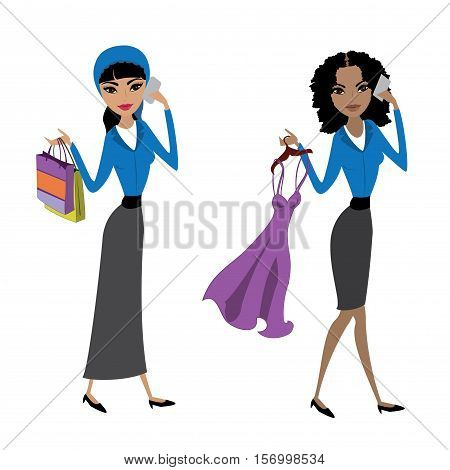 Arabic lady with shopping bags and african american woman with new dress isolated on white background stock vector illustration