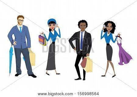 Set fashion shoppers isolated on white background cartoon stock vector illustration