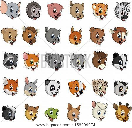 Vector illustration set of funny exotic on a white background