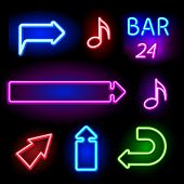 vector neon signs set poster