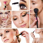 Collage of several photos for beauty industry poster