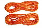 Two hanks of orange rope isolated on a white background. poster