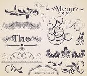 vector set: calligraphic design elements and page decoration - lots of useful elements to embellish your layout, detailed antique and baroque frames. poster