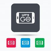 Smartphone game icon. Let's Go symbol. Pokemon game concept. Colored square buttons with flat web icon. Vector poster