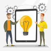 Creative business team brainstorming. Two businessmen during brainstorming session pointing finger at light bulb on tablet screen. Brainstorming concept. Vector flat design illustration. Square layout poster