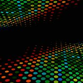 Disco style colorful halftone background with black copy space. poster