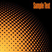 Yellow and orange halftone background with black copy space. poster