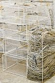 Bunch of deep fishing traps and nets poster