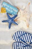 Gone to the Beach Summer Holiday Vacation Starfish Flip Flop Sandals Concept poster