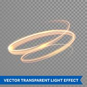 Light trace effect. Glowing fire swirl spiral. Light painting effect. Glow luminous glitter shimmer trail. Vector abstract light speed motion effect poster