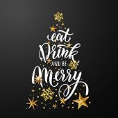 Christmas tree poster of gold glitter stars, snowflakes ornament. Eat, drink and be merry greeting card. Vector stars with golden glittering foil gilding. Christmas decoration poster