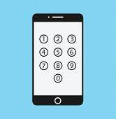 Phone Lock Cartoon - Smartphone Numeric Passcode Screen Flat Vector Illustration Stock poster