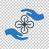 Air Copter Care Hands EPS vector icon. Illustration style is flat iconic bicolor smooth blue symbol. poster