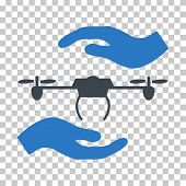 Airdrone Care Hands EPS vector icon. Illustration style is flat iconic bicolor smooth blue symbol. poster