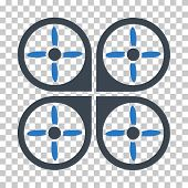 Copter EPS vector icon. Illustration style is flat iconic bicolor smooth blue symbol. poster