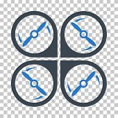 Quadcopter Screws Rotation EPS vector pictogram. Illustration style is flat iconic bicolor smooth blue symbol. poster