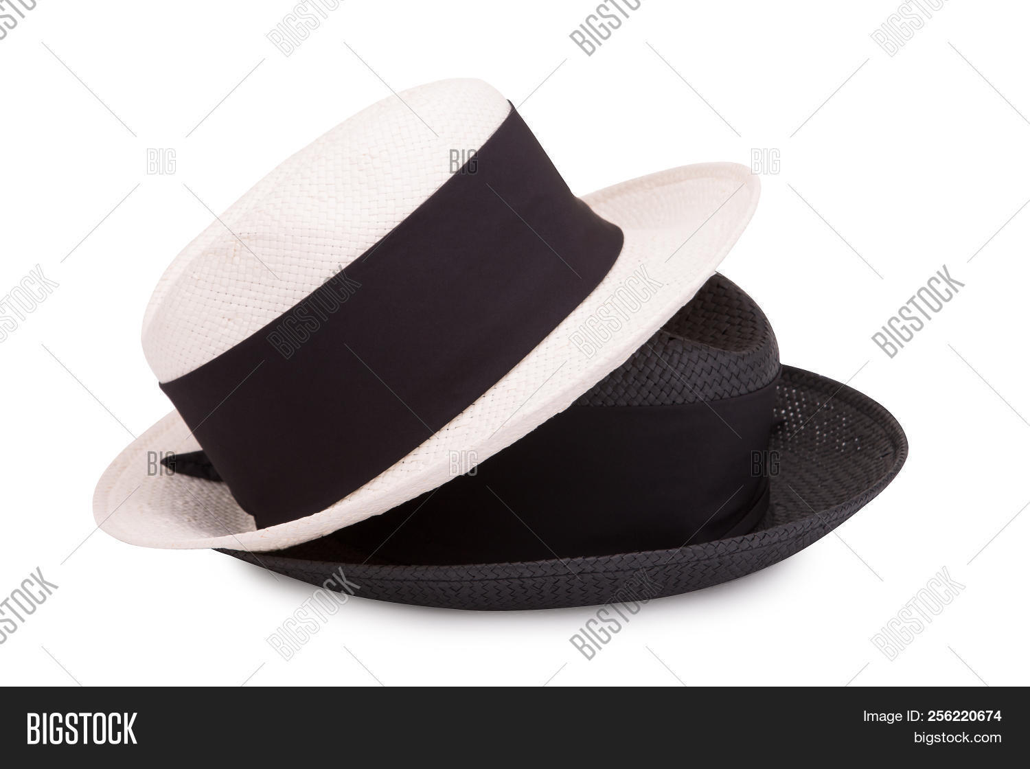 Black And White Straw Hat On A White Background. Two Straw Hats On A White 5900bbdacc7f