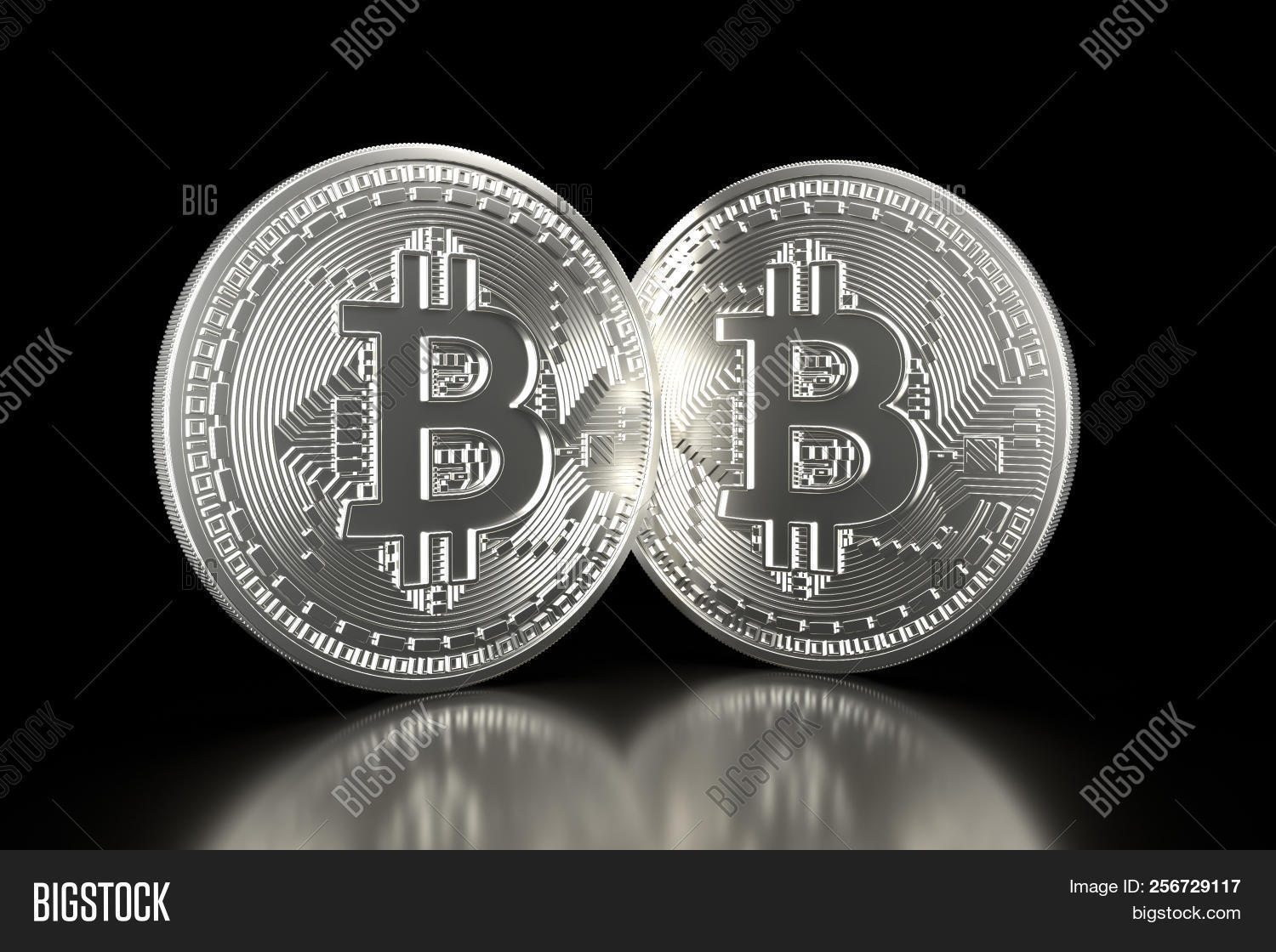 Bitcoin Silver Coins Image Photo Free Trial Bigstock