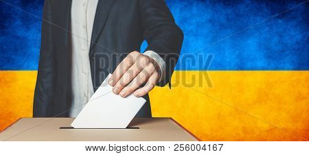 Elections In Ukraine, Political Struggle. Democracy, Freedom And Independence Concept. Man Voter Put