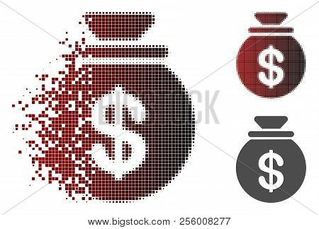 Cash Harvest Sack Icon In Dissolved, Dotted Halftone And Undamaged Solid Versions. Particles Are Arr