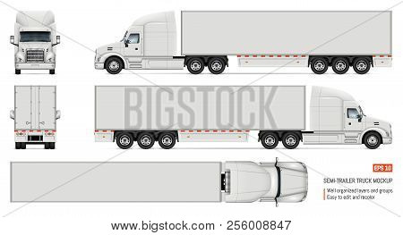 Semi Trailer Truck Vector Mockup For Car Branding And Advertising. Isolated Lorry Cargo Vehicle Set