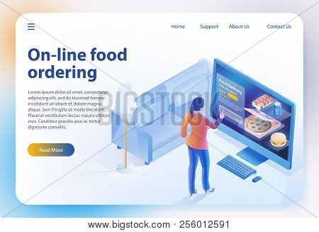 Isometric Food Ordering. Online Ordering And Fast Food Delivery. Online Order Meal In Cafe. Girl Loo