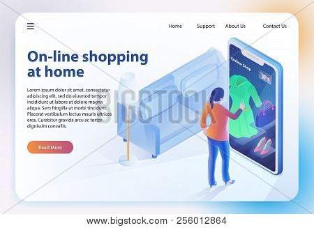 Isometric Shopping Home. Ecommerce Sales, Online Shopping, Digital Marketing. Sale And Consumerism C
