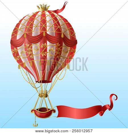 Vector Realistic Hot Air Balloon With Vintage Decor, Crown, Flying On Blue Sky With Blank Red Ribbon