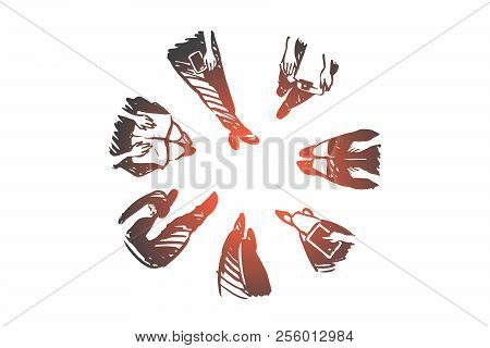 Group, People, Convention, Meeting, Discussion Concept. Hand Drawn People Sitting In Round And Discu