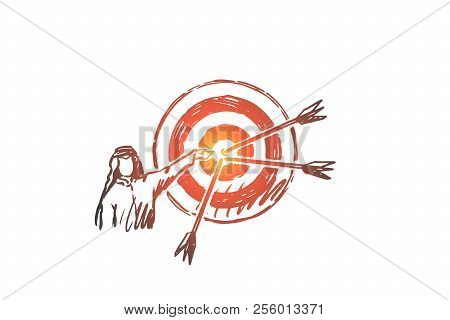 Goals, Target, Hitting, Muslim, Attainment Concept. Hand Drawn Arab Person And Target With Arrows Co