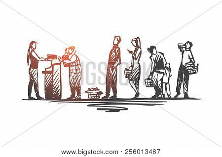 Shopping, Purchases, Queue, Waiting, Cash Desk Concept. Hand Drawn People In The Store Stand In Line