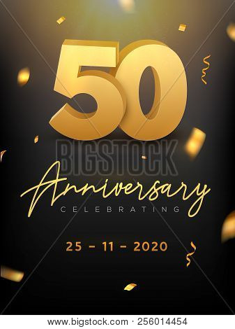 50 Years Anniversary Celebration Event. Golden Vector Birthday Or Wedding Party Congratulation Anniv