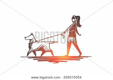 Walk, Pet, Dog, Lifestyle, Darling Concept. Hand Drawn Woman Walking With Her Dog Concept Sketch. Is