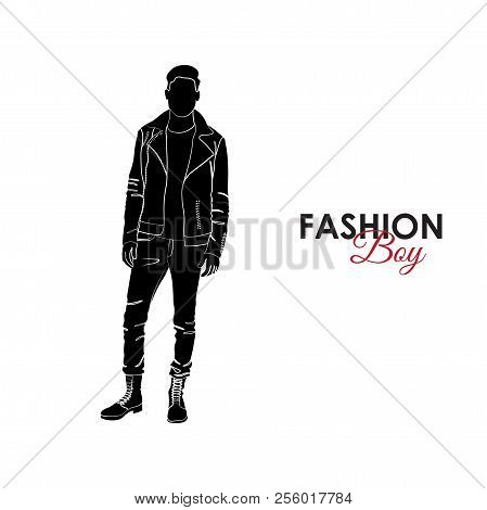 Fashionable Guy. Fashion. Silhouette Of A Guy. The Guy In Jeans, Turtles And Leather Scythe