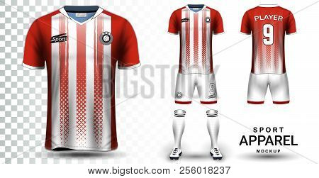 Soccer Jersey And Football Kit Presentation Mockup Template, Front And Back View Including Sportswea