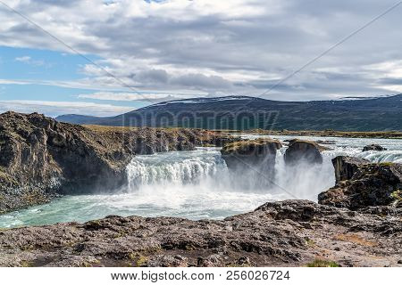 Godafoss Waterfall, Or Waterfall Of The Gods - Northern Iceland. The Water Of The River Skjalfandafl