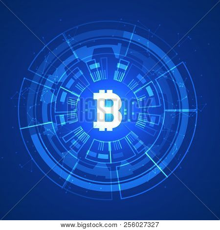 Bitcoin Conceptual Glowing Background. Crypto Currency Blockchain Business Mining Bitcoin.