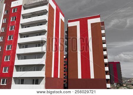Colorful Apartment Buildings. Kazakhstan (ust-kamenogorsk). Apartment Building Brightly Painted. Bui