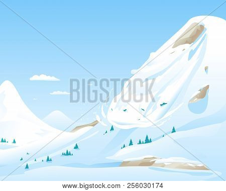 Snow Avalanche Slides Down In High Mountain, Natural Hazard Illustration Background, Danger In Mount