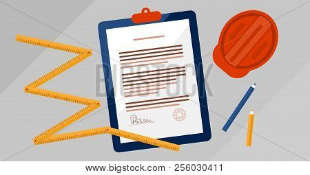 Contractors License Agreement Signed And Stamped Document Vector Illustration. Real Estate Construct