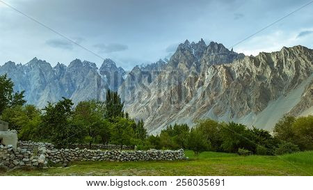Beautiful View Of Feilds In The Mountains Of Passu, In Hunza Valley, Pakistan
