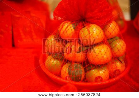 Bowl Of Oranges With Red Stickers In Chinese Character Word Meaning Happiness Using As A Gift For Ch