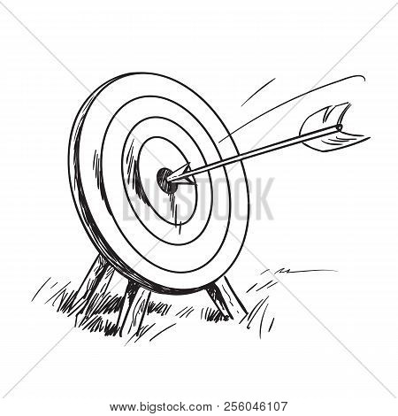 Arrow Hitting The Center Of Target. Successful Business Concept. Hand Drawn Vector Sketch.