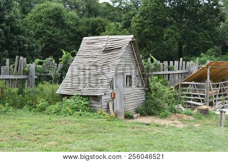 Rustic Chicken Coop In Plimoth Plantation Massachusetts.